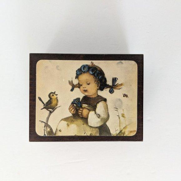 """Vintage Reuge Music Box The Botanist"""" Hummel Girl"""